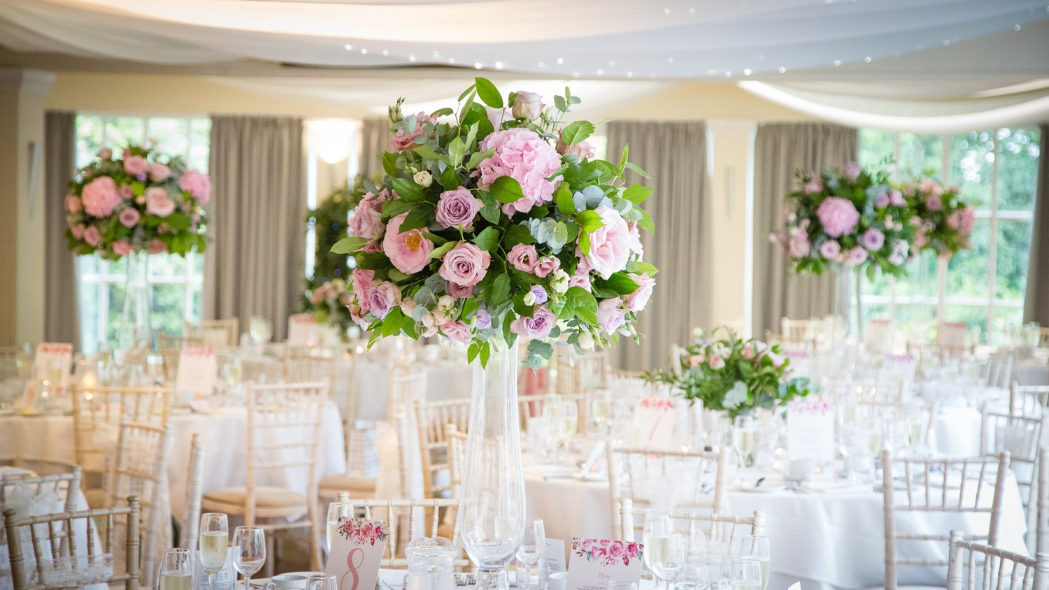 Pink floral table arrangement